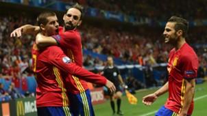 Alvaro Morata Juanfran Cesc Fabregas Spain Turkey Euro 2016