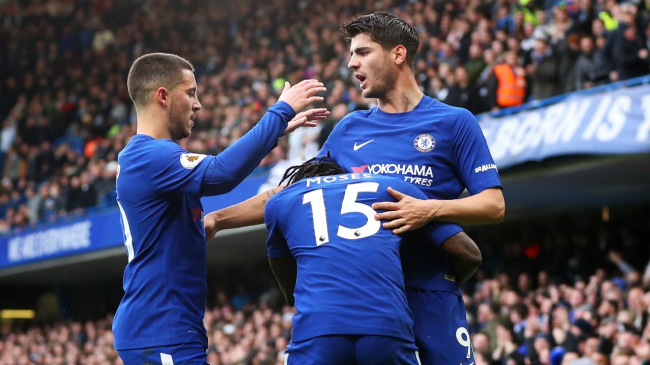 Chelsea - Newcastle: Victor Moses, Eden Hazard and Alvaro Morata