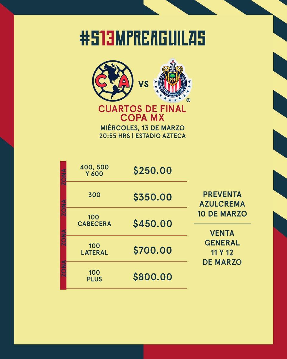 Boletos América vs Chivas Copa MX