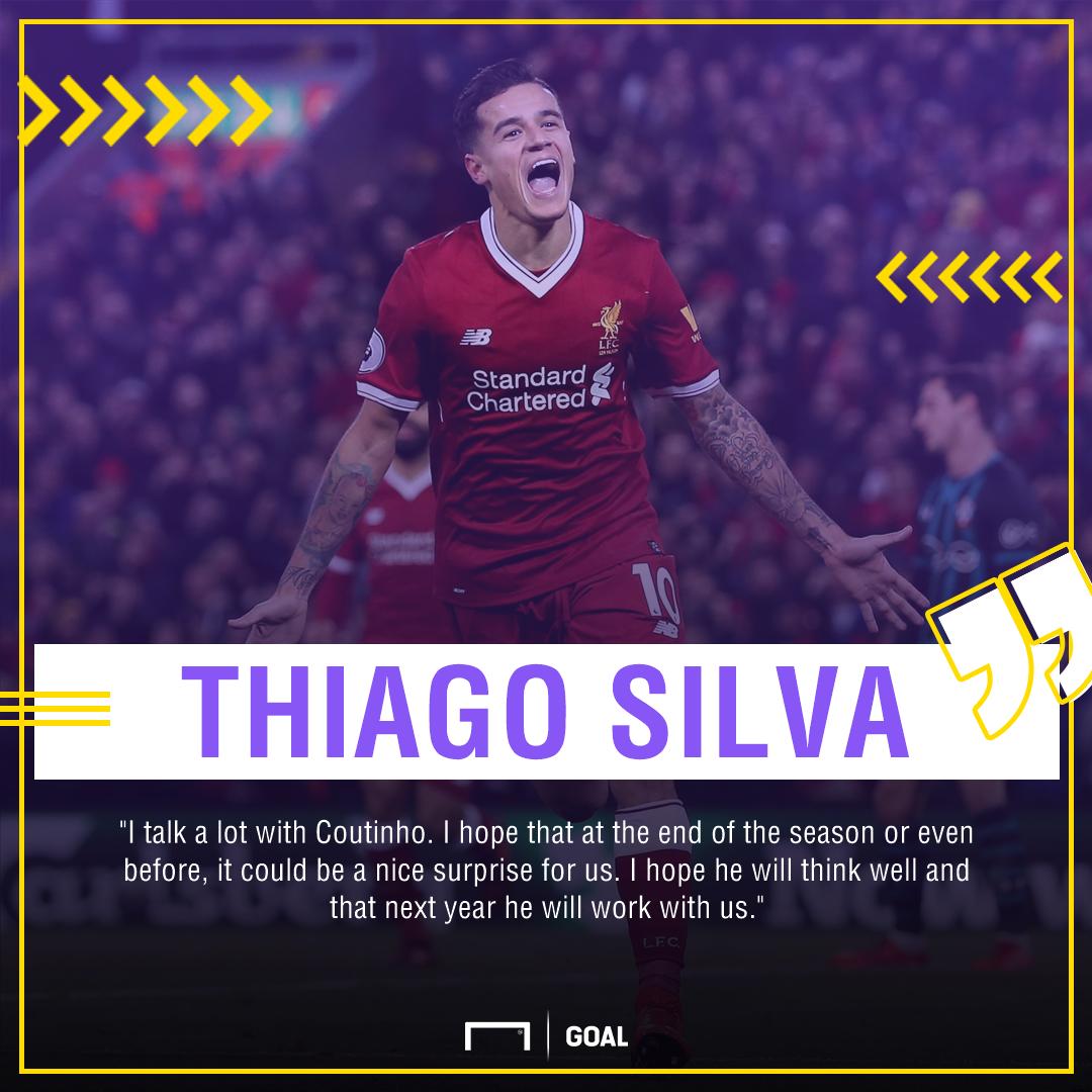 Philippe Coutinho Thiago Silva Liverpool PSG