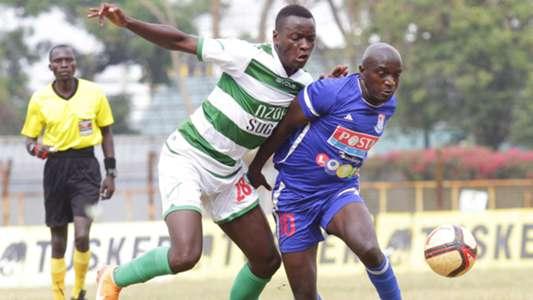 Dennis Mukhaisi of Posta Rangers v Brian Otieno of Nzoia Sugar