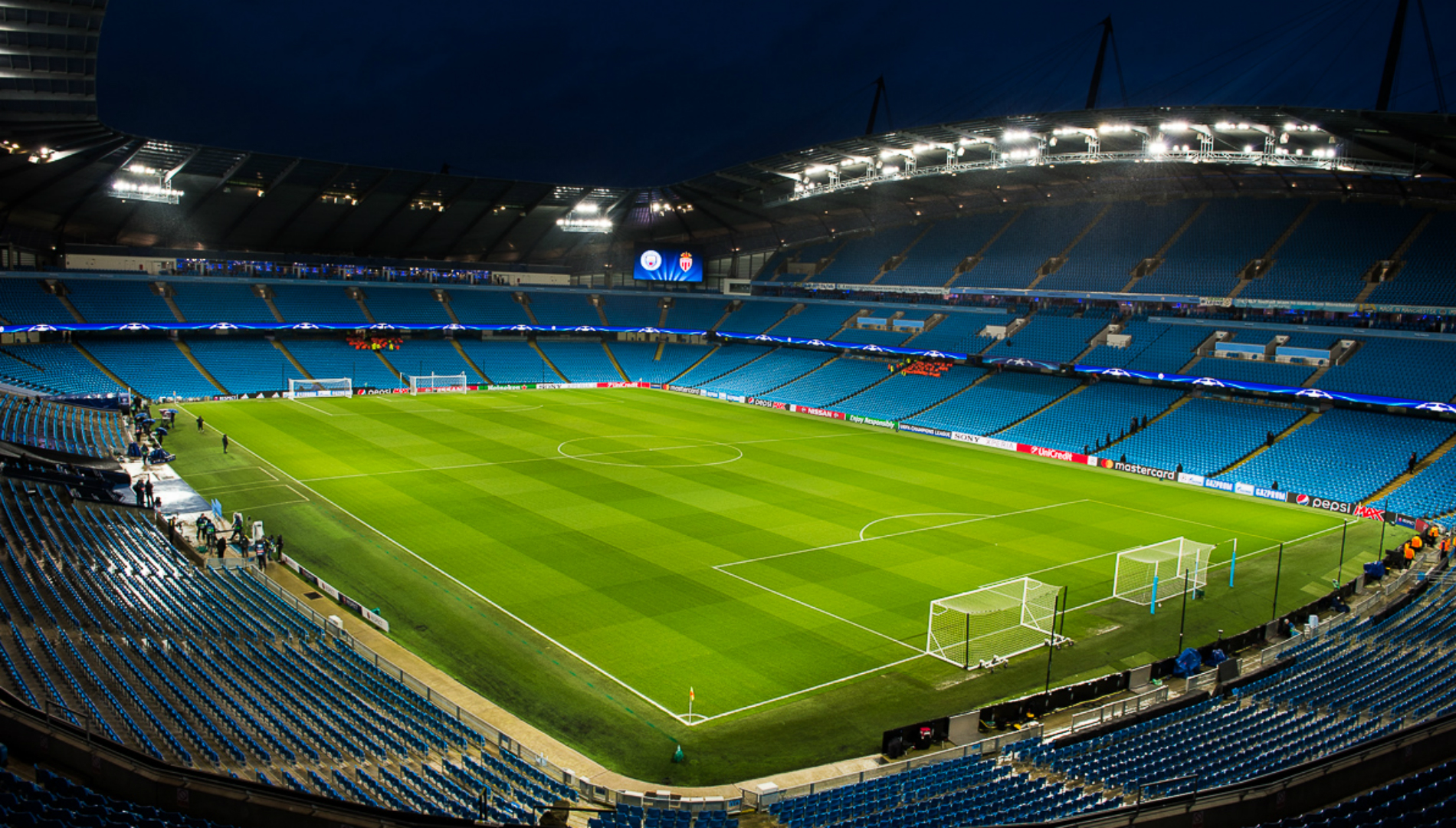 The Etihad Stadium shortly before the Champions League thriller between Manchester City and Monaco
