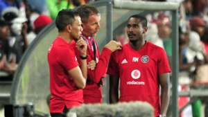 Orlando Pirates coaches, Milutin Sredojevic, Rulani Mokwena and Fadlu Davids, January 2019