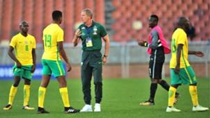 Stuart Baxter and Siphesihle Ndlovu of Bafana Bafana