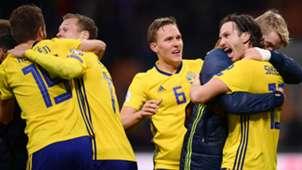 Sweden celebrating against Italy