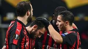 Milan celebrating Milan Dudelange Europa League