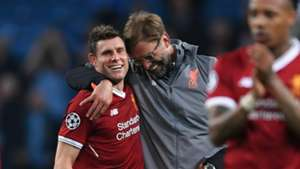 Jurgen Klopp James Milner Man City Liverpool 10042018 Champions League QF