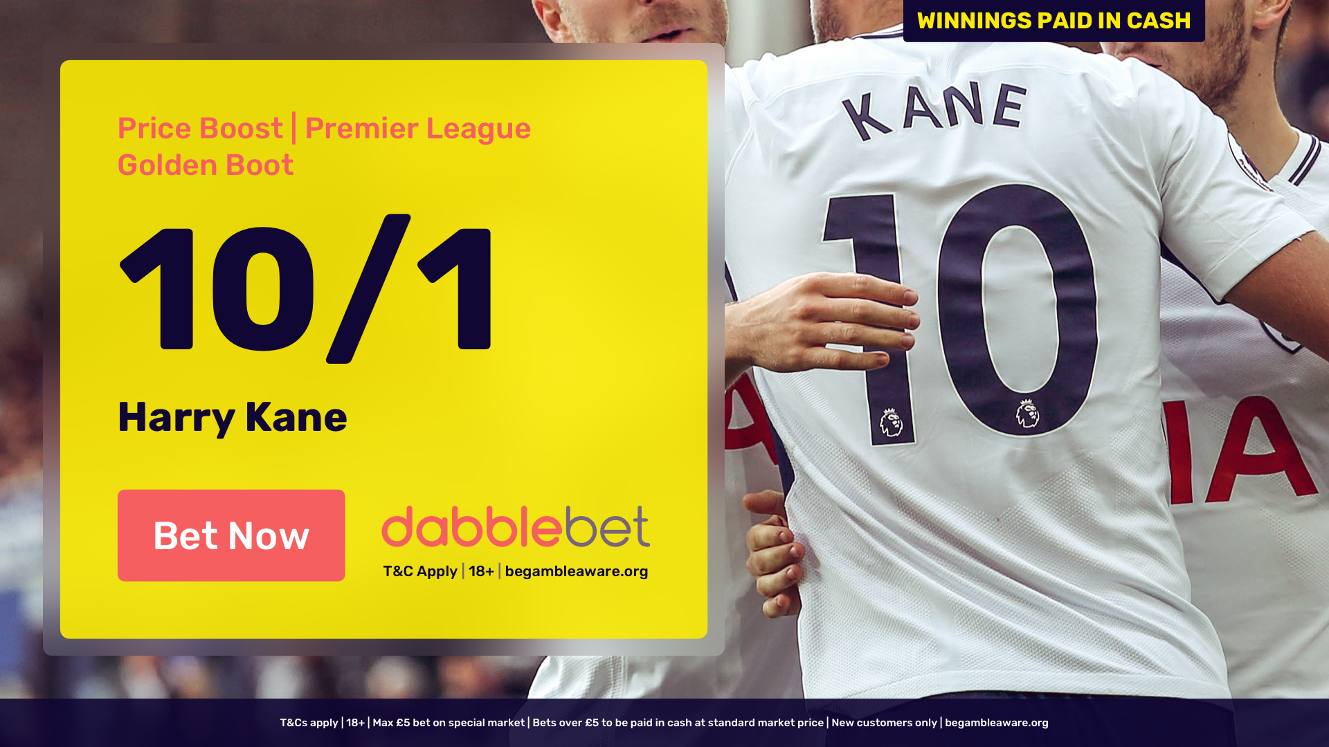 Kane dabblebet Golden Boot new customer offer in article