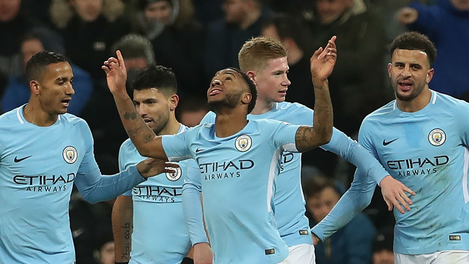 Raheem Sterling Manchester City celebrate