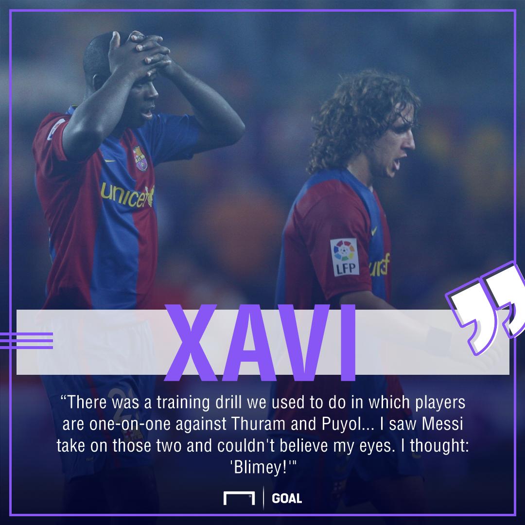 Xavi Lionel Messi Barcelona first training session
