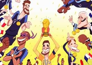 <b>Prancis Berpesta!</b><p> Rusia 2018 ditutup dengan cara yang sempurna: laga final superseru antara Prancis versus Kroasia. Les Bleus keluar sebagai pemenang lewat skor 4-2 dalam partai yang diwarnai beragam momen, dari yang memikat sampai konyol. Pr...
