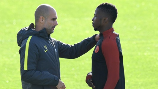 Pep Guardiola and Kelechi Iheanacho