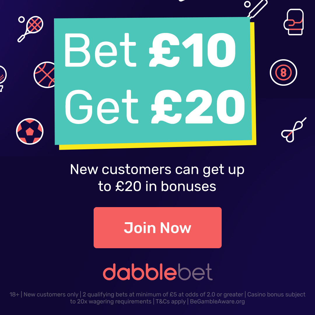 new dabblebet bet10get20 creative square