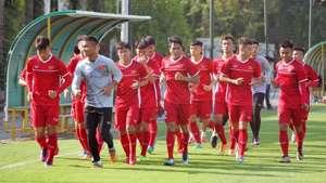 U19 Việt Nam tập luyện tại Trung tâm bóng đá trẻ VFF tháng 5-2018
