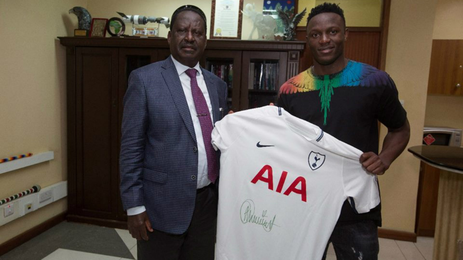 Victor Wanyama and Raila Odinga.