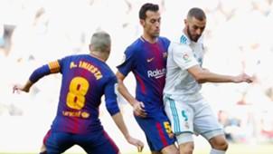 Karim Benzema Sergio Busquets Real Madrid Barcelona El Clásico LaLiga 23122017