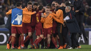 Roma celebrating Roma Barcellona Champions League