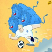 Cartoon Harry Kane and the three lions