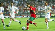 Cristiano Ronaldo taking on Russian defenders in Euro 2004
