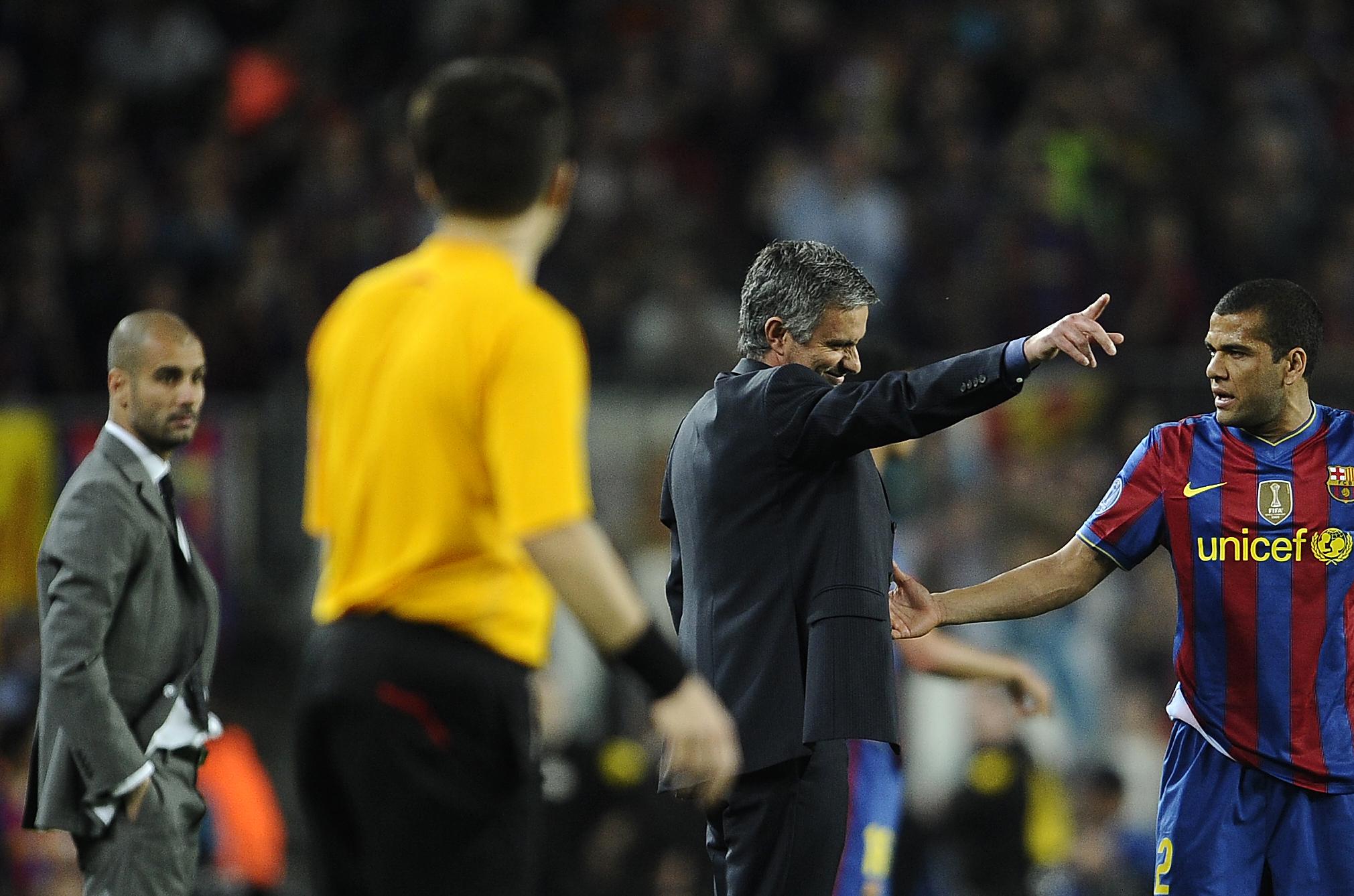 Dani Alves & Jose Mourinho