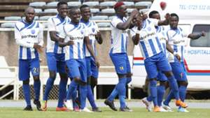 Paul Were Whyonne Isuza and David Ochieng of AFC Leopards.