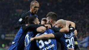 Inter celebrating Inter Sampdoria Serie A