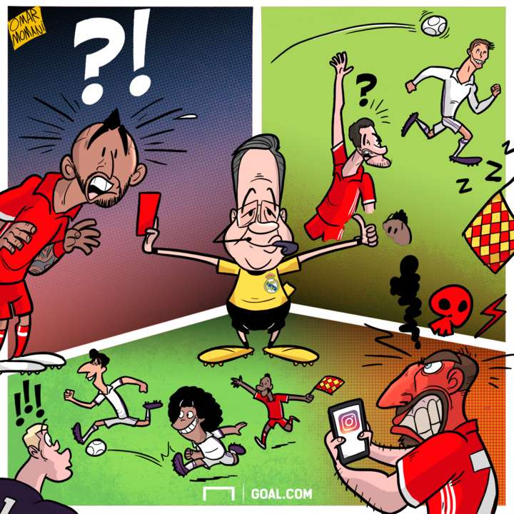 Cartoon Real Madrid and Bayern referee