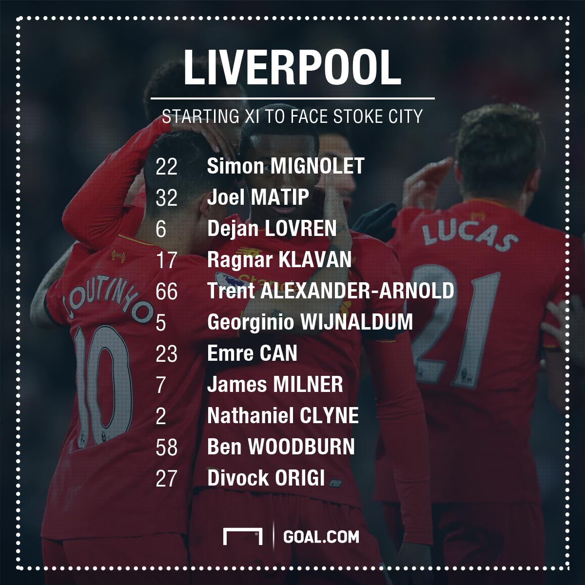 GFX Info Liverpool XI vs Stoke