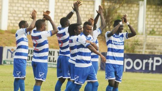 AFC Leopards players celebrate v Muhoroni.