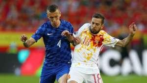Ivan Perisic Jordi Alba Spain Croatia Euro 2016