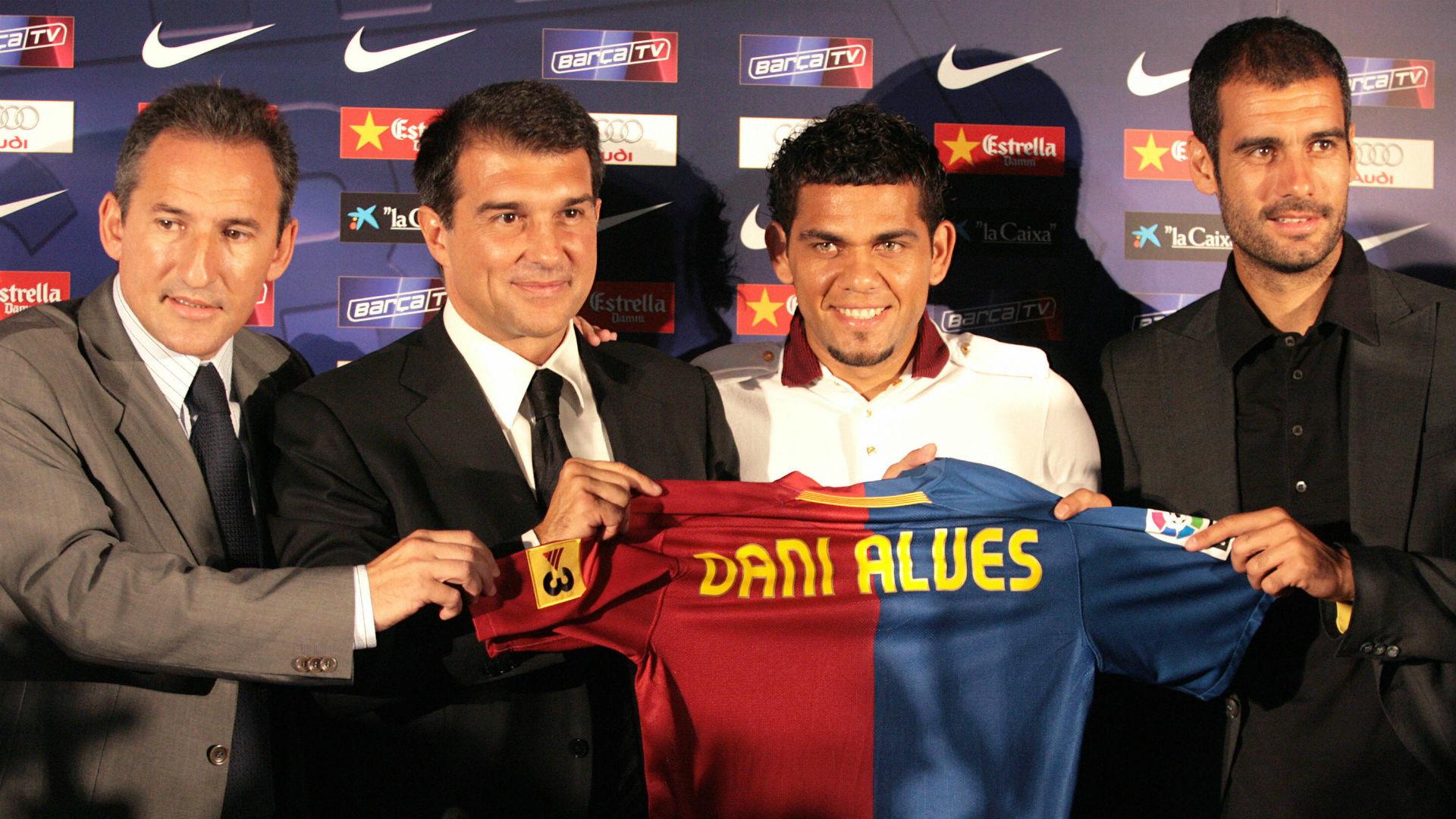 Txiki Begiristain Joan Laporte Dani Alves Pep Guardiola Barcelona