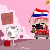 Cartoon Croatia and Football is going home