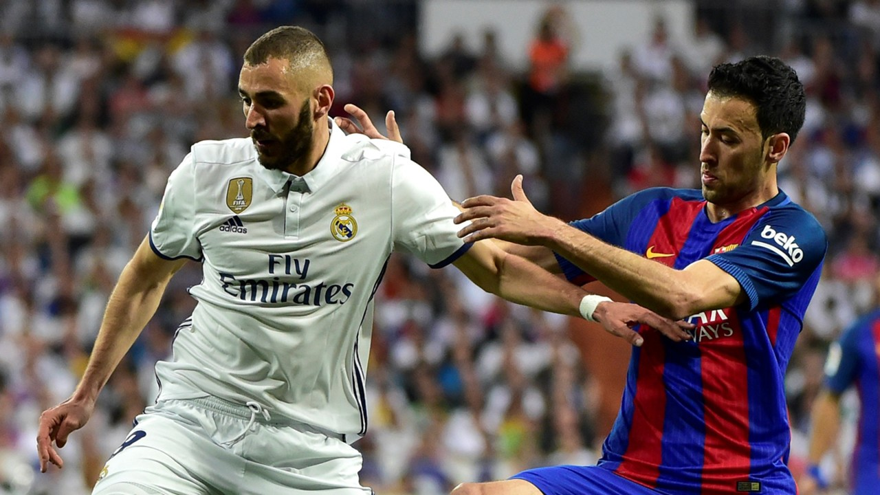 Karim Benzema Sergio Busquets Real Madrid Barcelona LaLiga 23042017