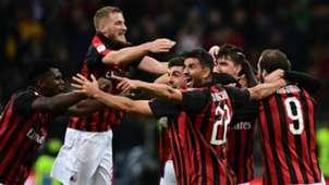 Milan celebrating Milan Genoa Serie A 10312018