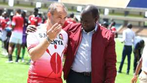 Sebastien Migne of Kenya and Harambee Stars with William Ruto.