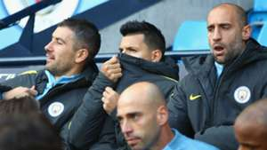 Sergio Aguero Manchester City bench