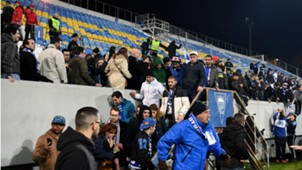 Estoril Porto fans evacuate the stands