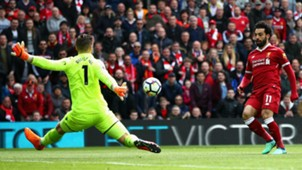 Mohamed Salah Jack Butland Liverpool Stoke City Premier League