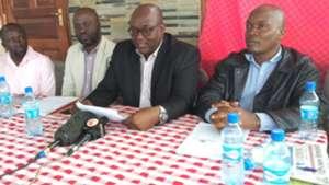 Maurice Amahwa of AFC Leopards and Richard Ekhalie and Maurice Osundwa.