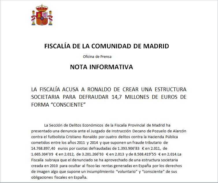 Así Es El Texto íntegro De La Fiscalía De Madrid Contra