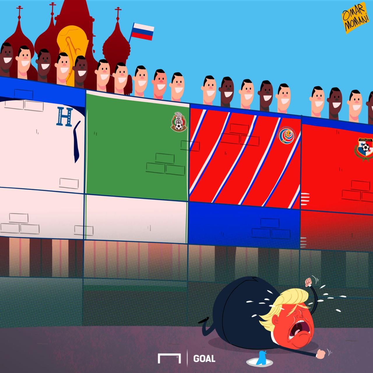Cartoon Wall against Trump
