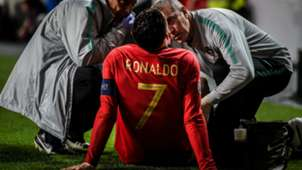Cristiano Ronaldo injury Portugal Serbia 0319