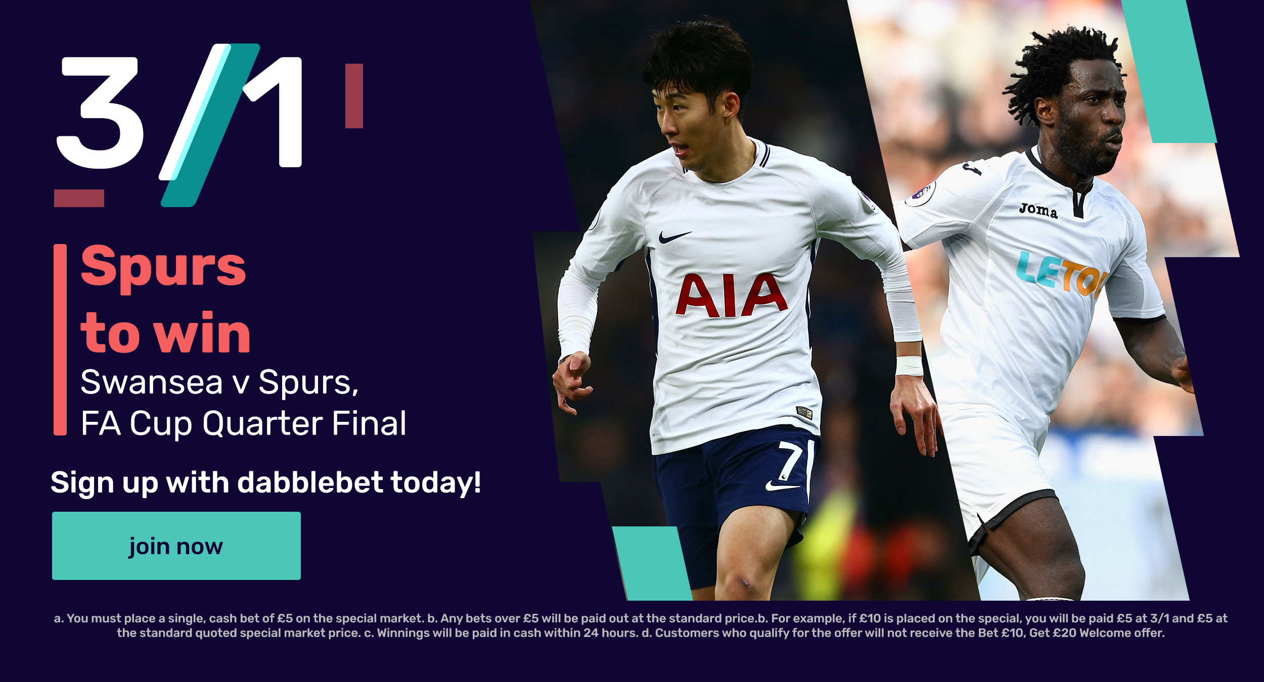 Spurs Swansea dabblebet offer