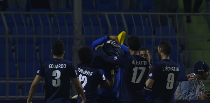 Al Hilal players celebrate after scoring against Al Rayyan
