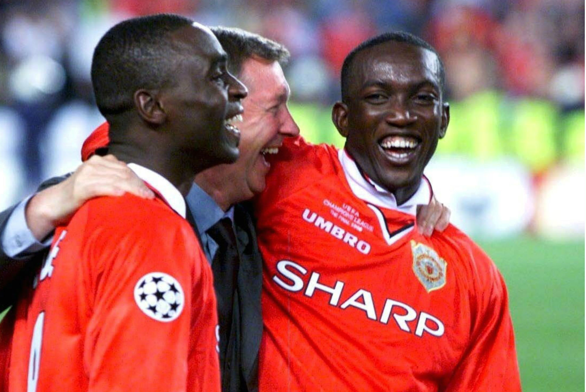 Andrew Cole, Sir Alex Ferguson, Dwight Yorke, Manchester United