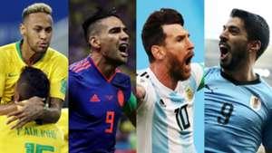 Neymar Falcao Lionel Messi Luis Suarez Brasil Colombia Argentina Uruguay 2018