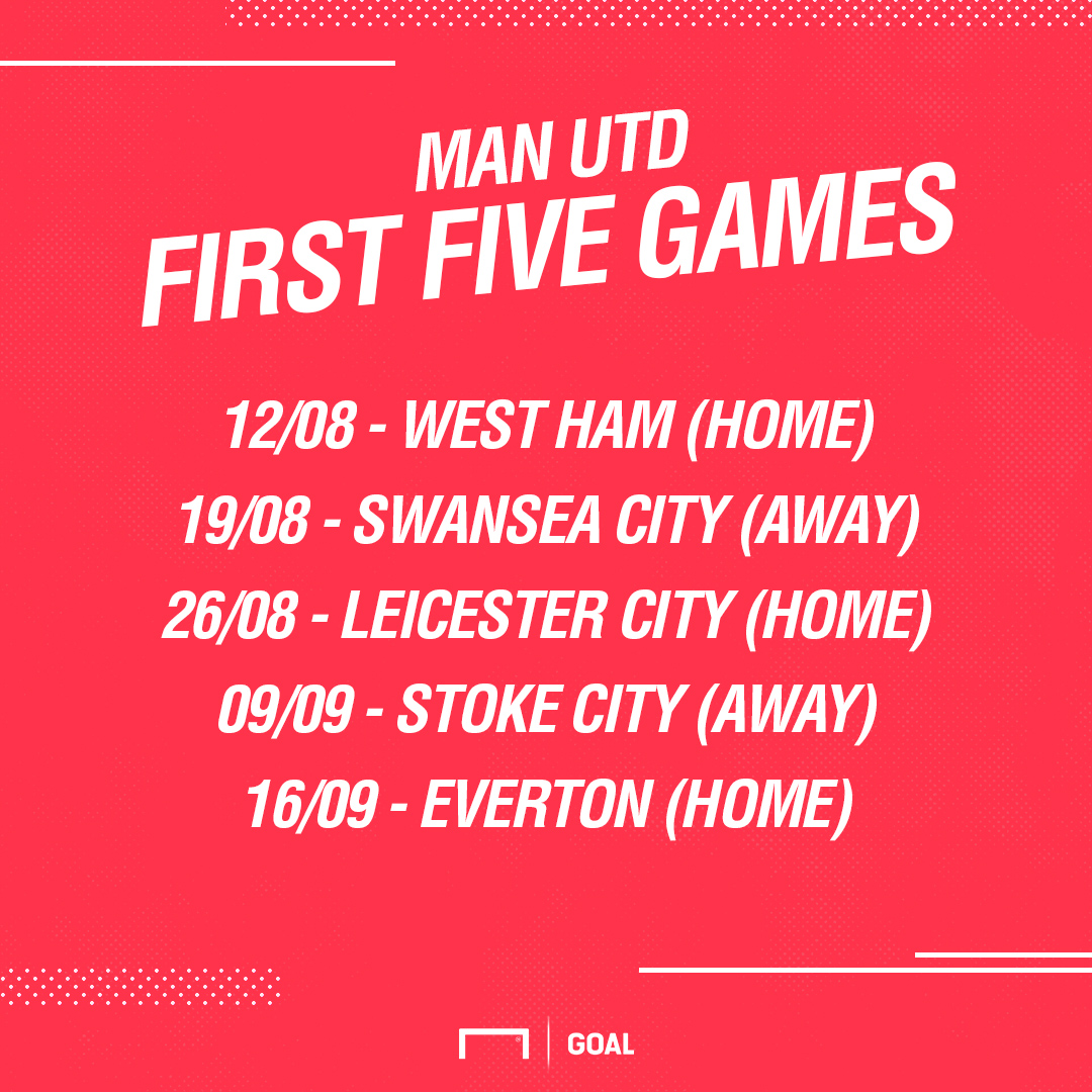 Man Utd first five fixtures