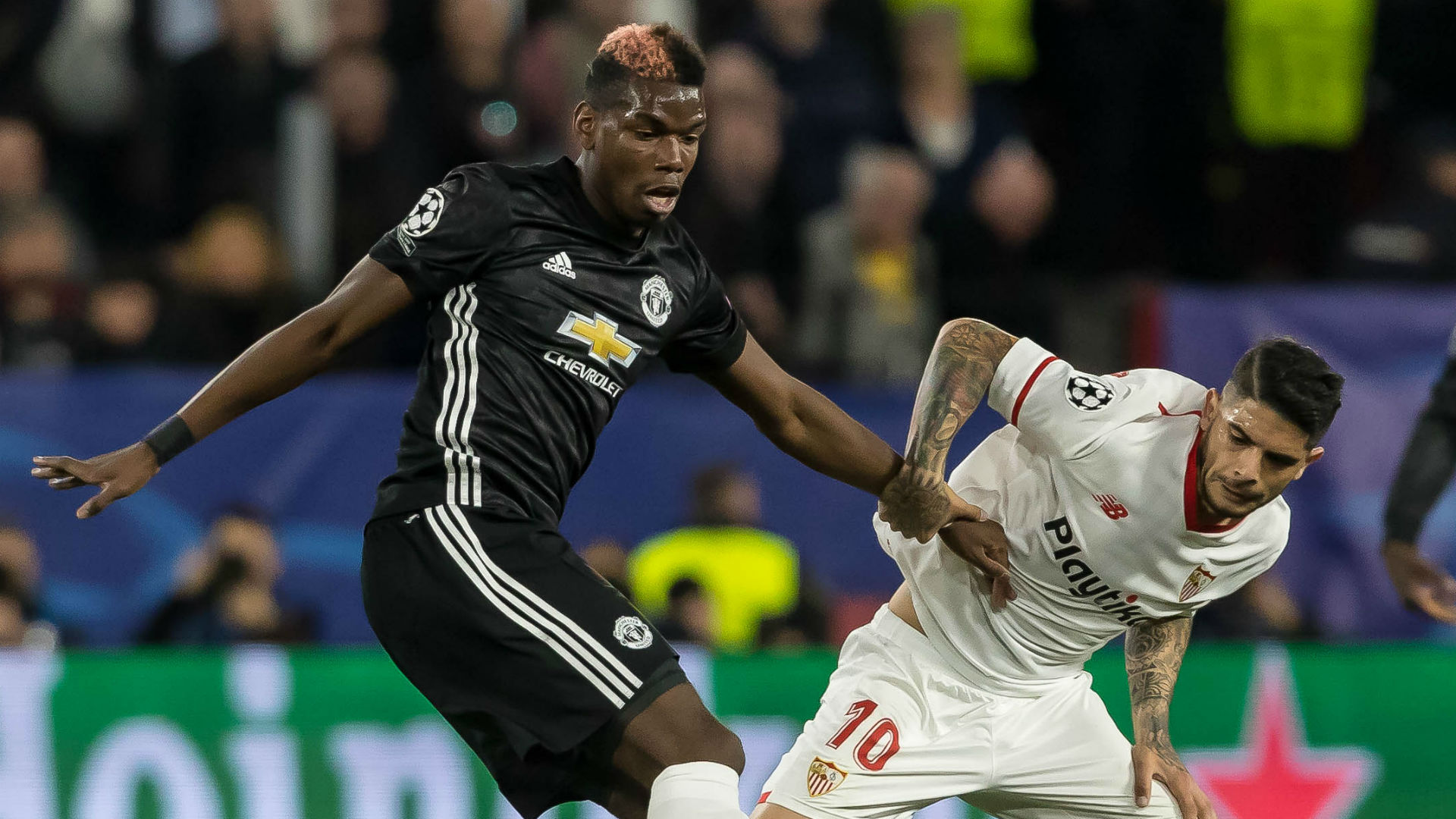 Paul Pogba Ever Banega Manchester United Sevilla Champions League