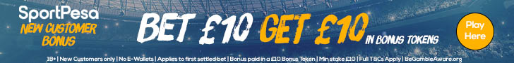 SportPesa banner update - new customer - bet 10 get 10