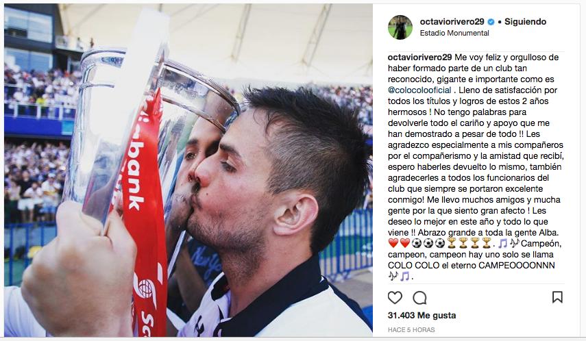 Octavio Rivero chau Colo Colo 2018